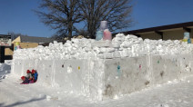 Canadian students build epic snow fort with outdoor classroom inside