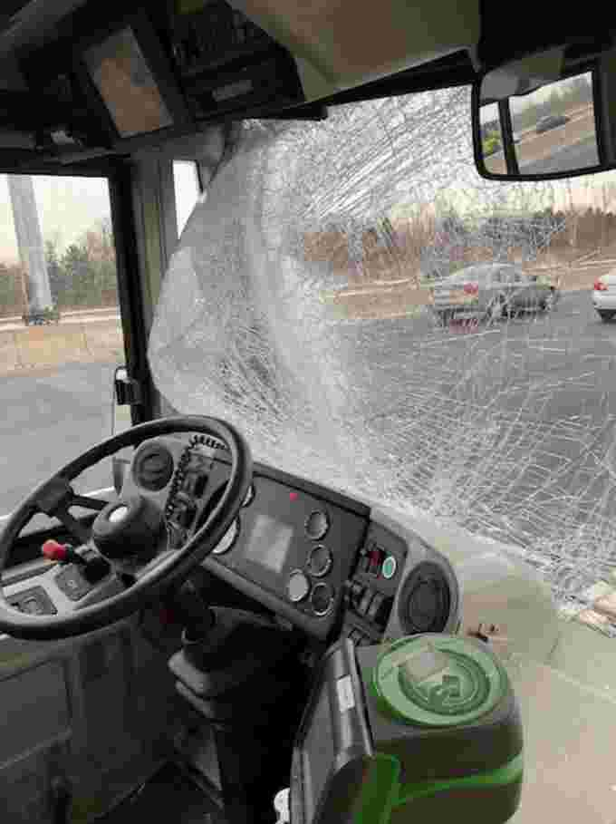 CBC image GO bus hit by flying ice