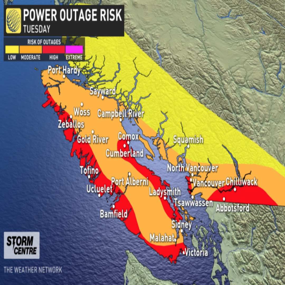 Howling 70 100 Km H Winds Ramp Up In B C Power Outages Reported The Weather Network