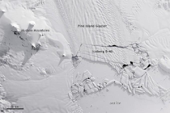 Pine Island glacier larger NASA