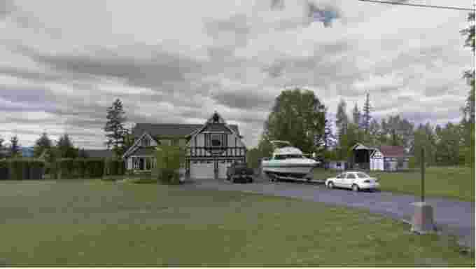 Google Street View: This house is one of four properties under evacuation alert issued by the City of Quesnel on Monday. Another house on the same road is under evacuation order. (Google Streetview)