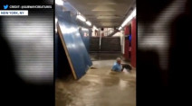 VIDEO: Subway flood in NYC nearly drags man into oncoming train